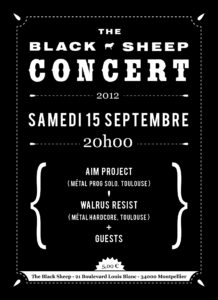 Affiche concert The Black Sheep 15-09-12