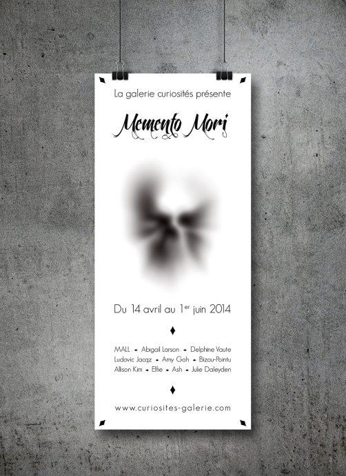 Affiche blanche exposition Memento Mori Galerie Curiositéss