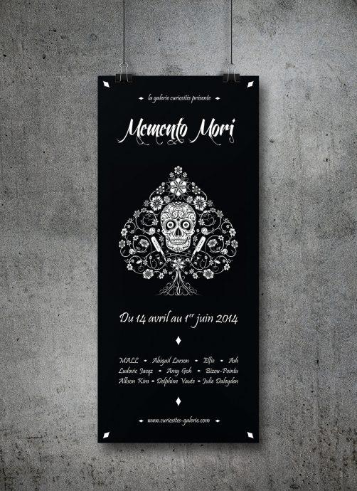Affiche noire exposition Memento Mori Galerie Curiosités